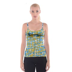 Blue and yellow elegant pattern Spaghetti Strap Top