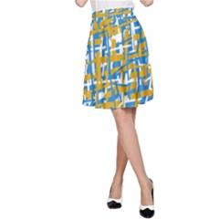 Blue and yellow elegant pattern A-Line Skirt