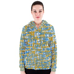 Blue and yellow elegant pattern Women s Zipper Hoodie