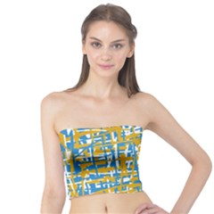 Blue and yellow elegant pattern Tube Top