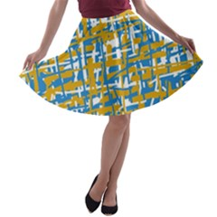 Blue and yellow elegant pattern A-line Skater Skirt