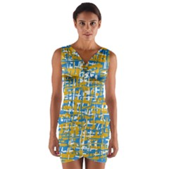 Blue And Yellow Elegant Pattern Wrap Front Bodycon Dress