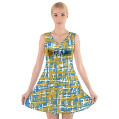 Blue And Yellow Elegant Pattern V Neck Sleeveless Skater Dress