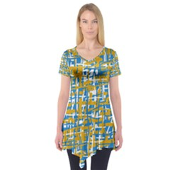 Blue and yellow elegant pattern Short Sleeve Tunic