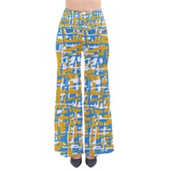 Blue And Yellow Elegant Pattern Pants