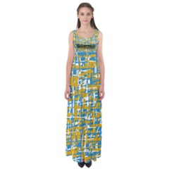 Blue And Yellow Elegant Pattern Empire Waist Maxi Dress