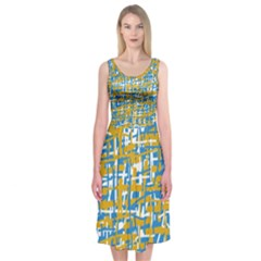 Blue and yellow elegant pattern Midi Sleeveless Dress