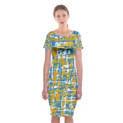 Blue and yellow elegant pattern Classic Short Sleeve Midi Dress