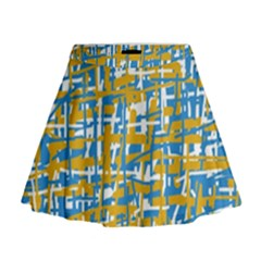 Blue and yellow elegant pattern Mini Flare Skirt