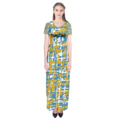 Blue and yellow elegant pattern Short Sleeve Maxi Dress