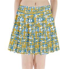 Blue And Yellow Elegant Pattern Pleated Mini Mesh Skirt