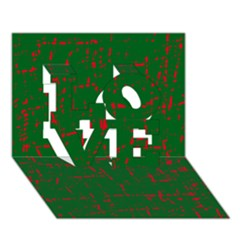Green And Red Pattern Love 3d Greeting Card (7x5)