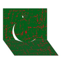 Green and red pattern Circle 3D Greeting Card (7x5)