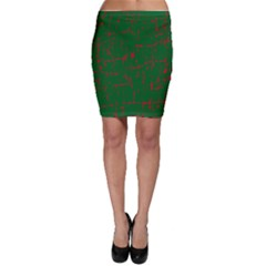 Green and red pattern Bodycon Skirt