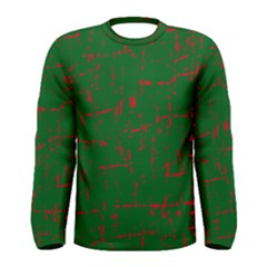 Green and red pattern Men s Long Sleeve Tee