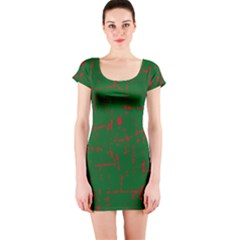 Green and red pattern Short Sleeve Bodycon Dress