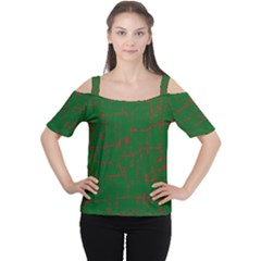Green and red pattern Women s Cutout Shoulder Tee