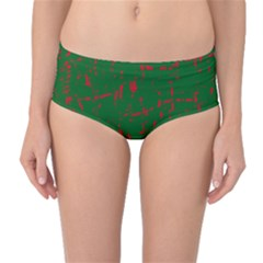 Green and red pattern Mid-Waist Bikini Bottoms
