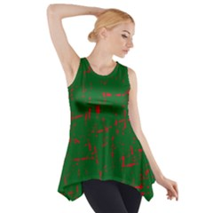 Green and red pattern Side Drop Tank Tunic
