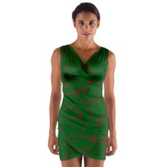 Green and red pattern Wrap Front Bodycon Dress