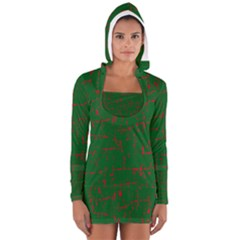 Green And Red Pattern Women s Long Sleeve Hooded T Shirt