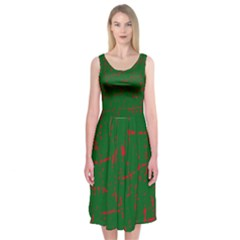 Green and red pattern Midi Sleeveless Dress