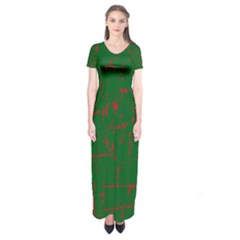 Green and red pattern Short Sleeve Maxi Dress