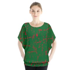 Green and red pattern Batwing Chiffon Blouse