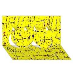 Yellow summer pattern Twin Hearts 3D Greeting Card (8x4)
