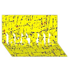 Yellow summer pattern BEST SIS 3D Greeting Card (8x4)