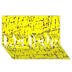 Yellow Summer Pattern Believe 3d Greeting Card (8x4)