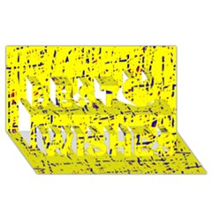 Yellow summer pattern Best Wish 3D Greeting Card (8x4)