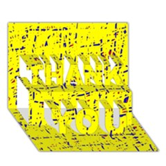 Yellow summer pattern THANK YOU 3D Greeting Card (7x5)