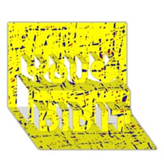 Yellow summer pattern You Did It 3D Greeting Card (7x5)