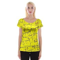Yellow summer pattern Women s Cap Sleeve Top
