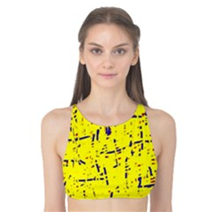 Yellow summer pattern Tank Bikini Top