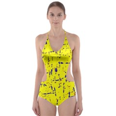 Yellow summer pattern Cut-Out One Piece Swimsuit