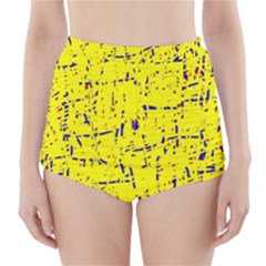 Yellow summer pattern High-Waisted Bikini Bottoms