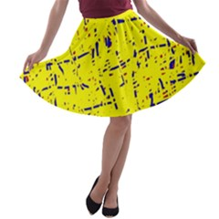 Yellow summer pattern A-line Skater Skirt