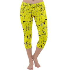 Yellow Summer Pattern Capri Yoga Leggings