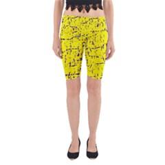 Yellow Summer Pattern Yoga Cropped Leggings