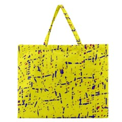 Yellow summer pattern Zipper Large Tote Bag