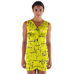 Yellow summer pattern Wrap Front Bodycon Dress