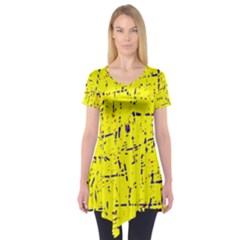 Yellow summer pattern Short Sleeve Tunic
