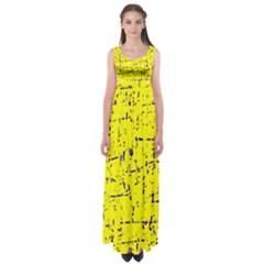 Yellow Summer Pattern Empire Waist Maxi Dress