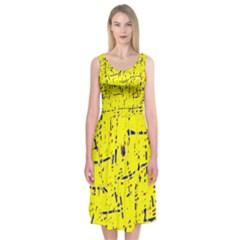 Yellow summer pattern Midi Sleeveless Dress