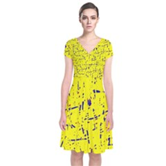 Yellow summer pattern Short Sleeve Front Wrap Dress