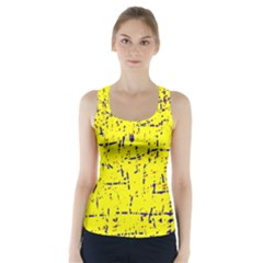 Yellow summer pattern Racer Back Sports Top