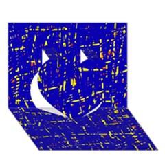 Blue pattern Heart 3D Greeting Card (7x5)