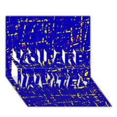 Blue pattern YOU ARE INVITED 3D Greeting Card (7x5)